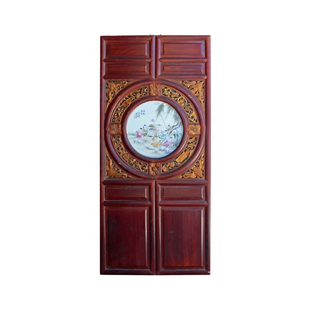 Chinese Vintage Round Porcelain Scenery Wood Wall Panel Art For Sale
