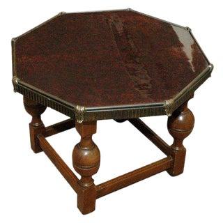 1930s Jacobean Bakelight Top Octagonal Coffee Table For Sale