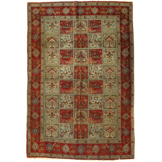 1930s Vintage Persian Qum Hand-Knotted Rug - 4′5″ × 6′6″ For Sale