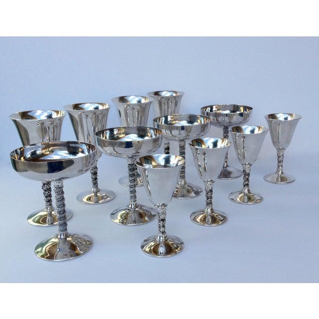 "Vintage Silver Plate Spanish ""Valerio"" Drinks Server Ware- Set of 12 For Sale - Image 11 of 11"