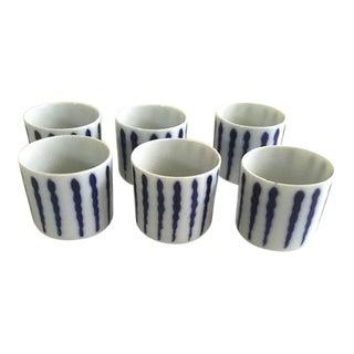 Japanese White & Blue Stripe Tea Mugs - Set of 6 For Sale