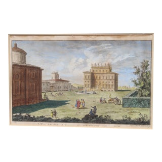 19th Century Neoclassical View Optique Later Drawing in Frame For Sale