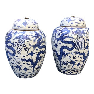 Blue & White Chinese Dragon Chinosorie Stoneware Urns Jars - Pair For Sale