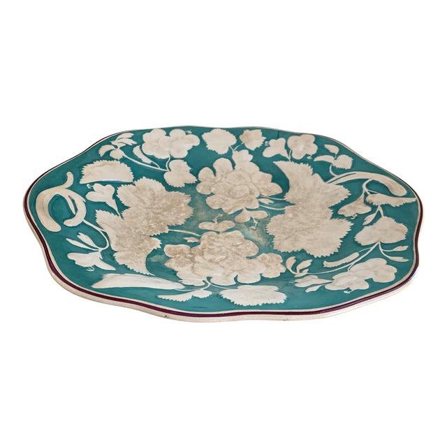 Antique 1860 English Davenport Majolica Geranium Patter Footed Platter For Sale