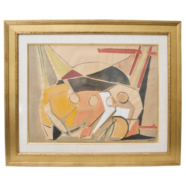 1949 Cubist Watercolor Painting by Edouard Pignon, Colleague of Picasso in Paris For Sale