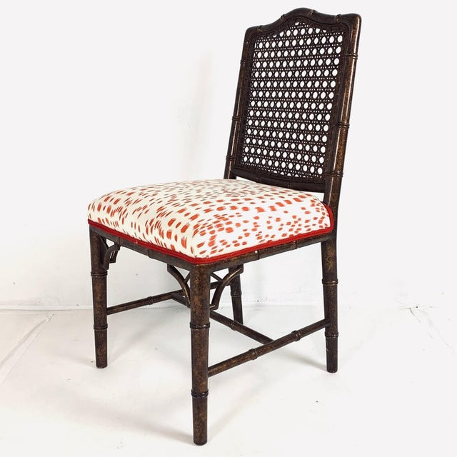Set of 6 Upholstered Faux Bois Bamboo Chinese Chippendale Cane Dining Chairs For Sale In New York - Image 6 of 13