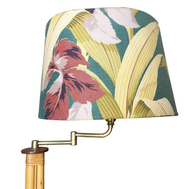 Mid-Century Rattan Pole Reading Floor Lamp with Tropical Lamp Shade - Image 2 of 6
