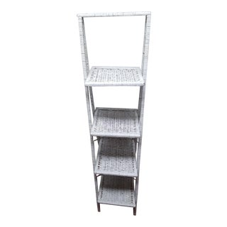 Vintage White Wicker Shelf For Sale