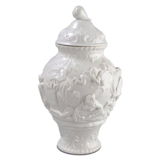 White Capodimonte Italian Porcelain Urn For Sale - Image 10 of 10