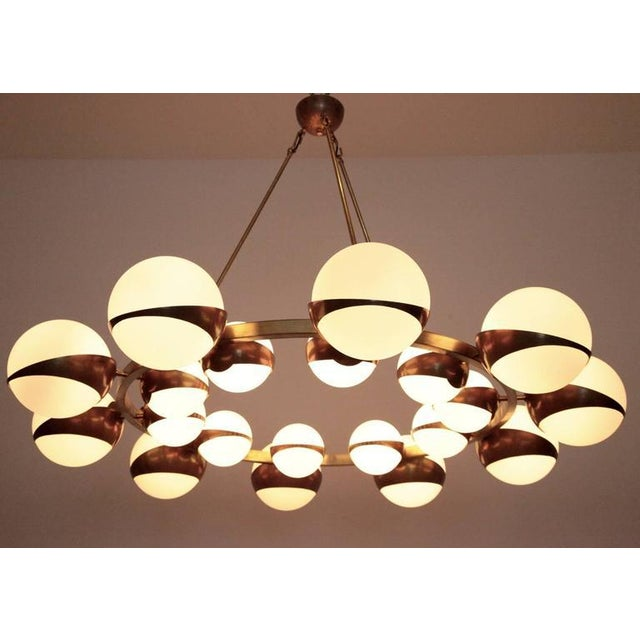 Mid-Century Modern Very Huge and Impressive Murano and Brass Chandelier Attributed to Stilnovo For Sale - Image 3 of 8