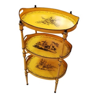 1960s Italian Three Tier Painted Yellow and Black Tole Trays on Stand For Sale
