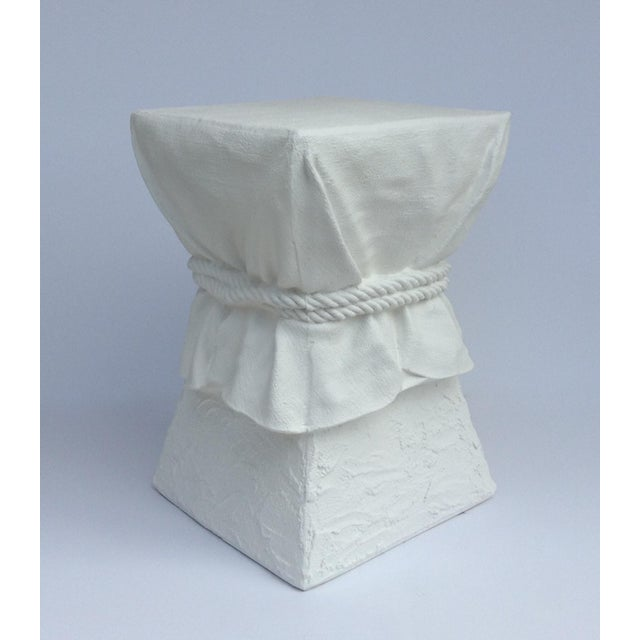 John Dickinson Attributed Draped Plaster Side Table Pedestal For Sale In West Palm - Image 6 of 11
