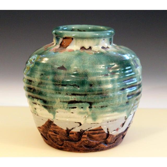 1930s Awaji Pottery Manipulated Jar Heavy Drip Lava Glaze Wabi Sabi Tea Ceremony Vase For Sale - Image 5 of 12