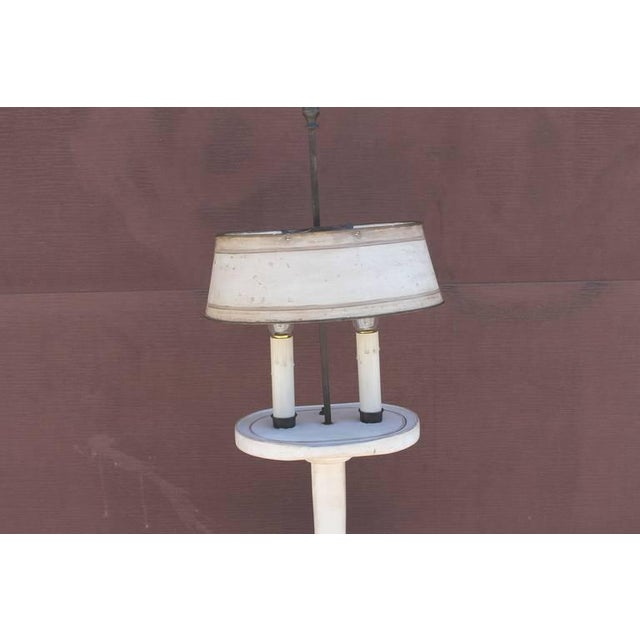 Traditional Amazing White Painted Floor Lamp with Tole Painted Tin Shade For Sale - Image 3 of 10