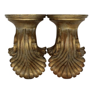 Mid Century French Golden Gilt Wall Bracket Shelves - a Pair For Sale