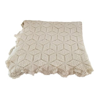 Vintage Cottage Hand Crochet Bedspread Throw For Sale