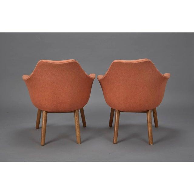 Eero Saarinen Orange Fabric Mid-Century Modern Armchairs in Style of Eero Saarinen- A Pair For Sale - Image 4 of 6