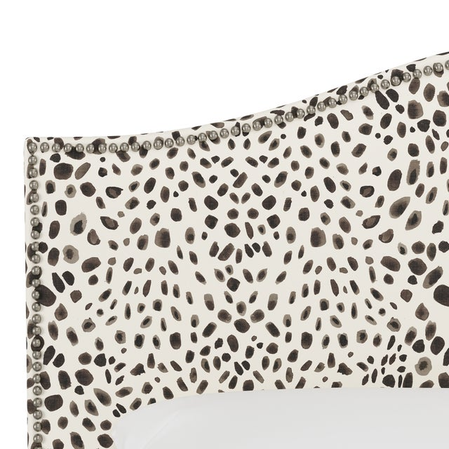 Queen Headboard, Washed Cheetah Cream Grey For Sale - Image 4 of 7