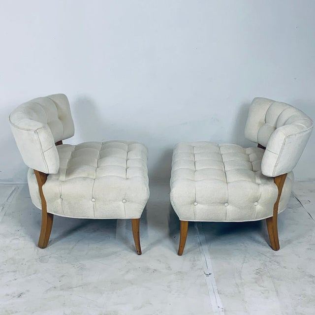"""Wiliam """"Billy"""" Haines Large Scale Regency Tufted Klismos Lounge Slipper Chairs - a Pair For Sale - Image 9 of 13"""