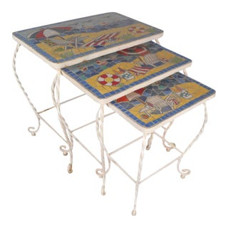 Mid-Century Modern Tile Top and Iron Stacking Tables With Beach Display - Set of 3