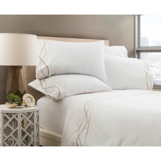 Capri Embroidered Flat Sheet Queen - Pumice Preview