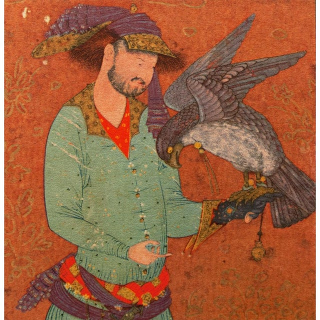 1940s 1940s Persian Original the Falconer Lithograph For Sale - Image 5 of 9