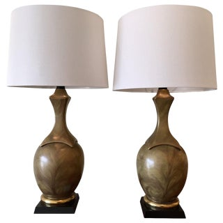 Pair of Metallic-Glazed Table Lamps in the Style of Chapman For Sale