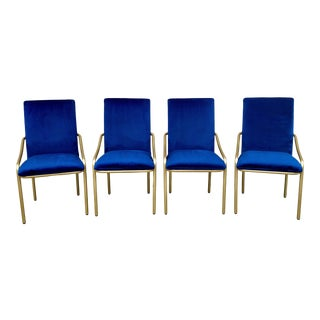 1970's Brass and Royal Blue Velvet Upholstered Dining Chairs - Set of 4 For Sale