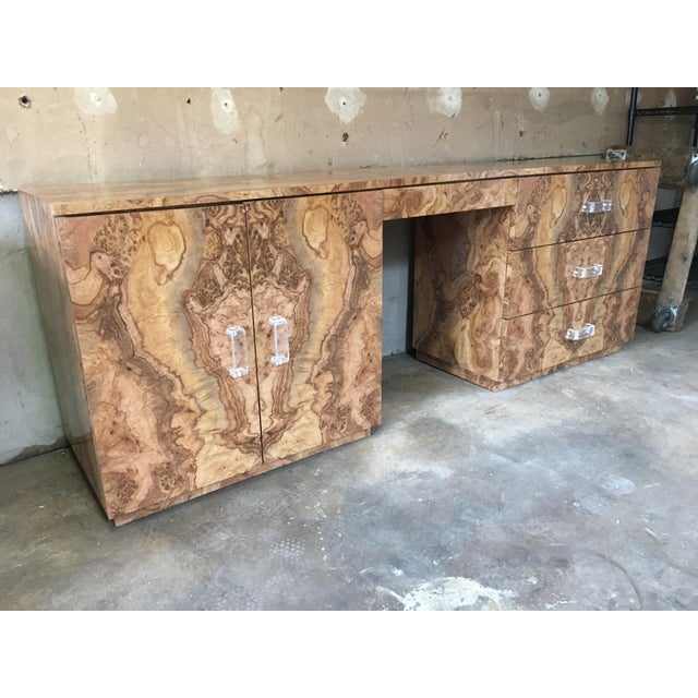 Exquisite vintage large executive style desk or vanity. Piece would work great as a vanity installed into a new bathroom...