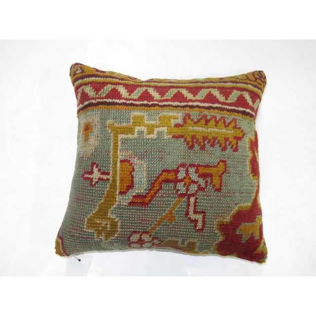 Contemporary Antique Turkish Oushak Rug Pillow For Sale - Image 3 of 3