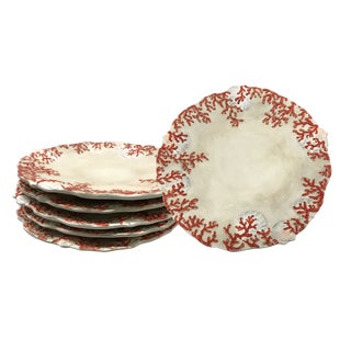 Discontinued Coral-Adorned Plates by Ambiance - Set of 6 For Sale
