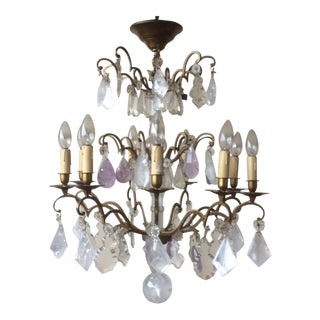 Rock Crystal Quartz and Amethyst Chandelier For Sale