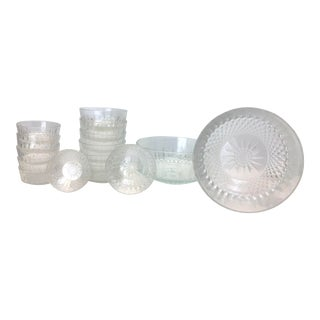 Arcoroc French Starburst Cut Bowls - 15 Piece Set For Sale
