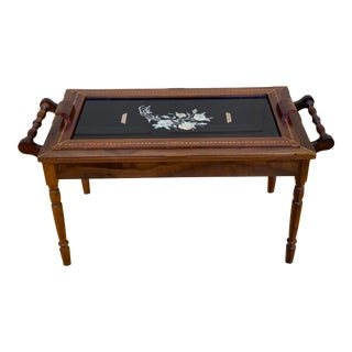 Antique Butlers Table With Lift Away Glass Serving Tray For Sale