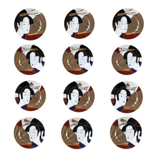 1980s Fitz and Floyd Geisha Collection Salad Plates – Set of 12 For Sale