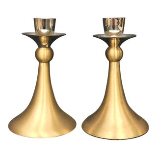 Mid-Century Brushed Brass and Silver Candle Holders - a Pair For Sale