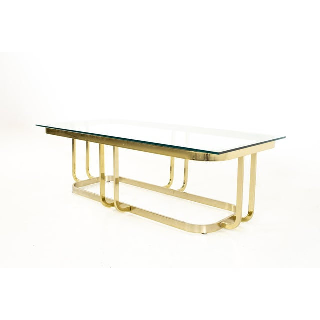 Milo Baughman Style Mid Century Brass and Glass Coffee Table For Sale - Image 9 of 12