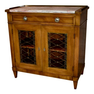 1970s Vintage John Widdicomb Marble Top Regency Style Cabinet For Sale