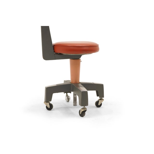 Red Industrial Design Swivel Chair on Casters by American Optical Corp Red Orange For Sale - Image 8 of 11