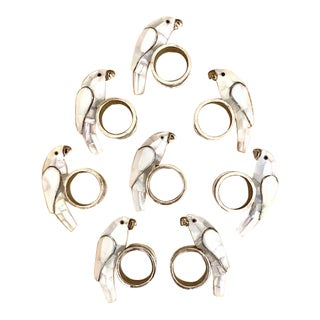 Los Castillos Silver and Shell Parrot Napkin Rings - Set 8 For Sale