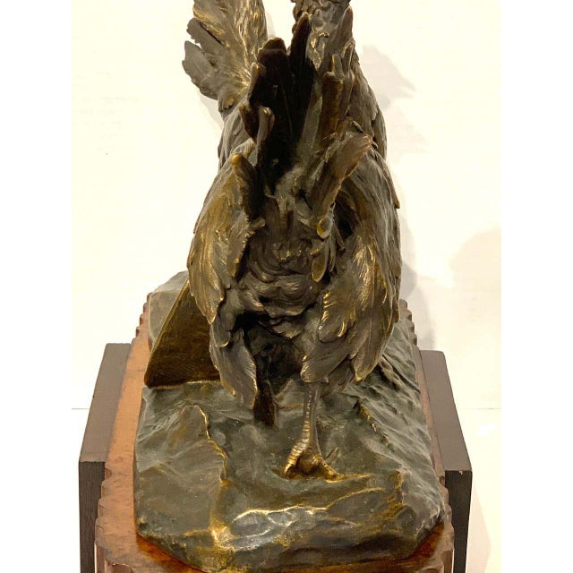 Bronze Belle Epoque French Bronze of Game Hen With Pedestal For Sale - Image 8 of 13