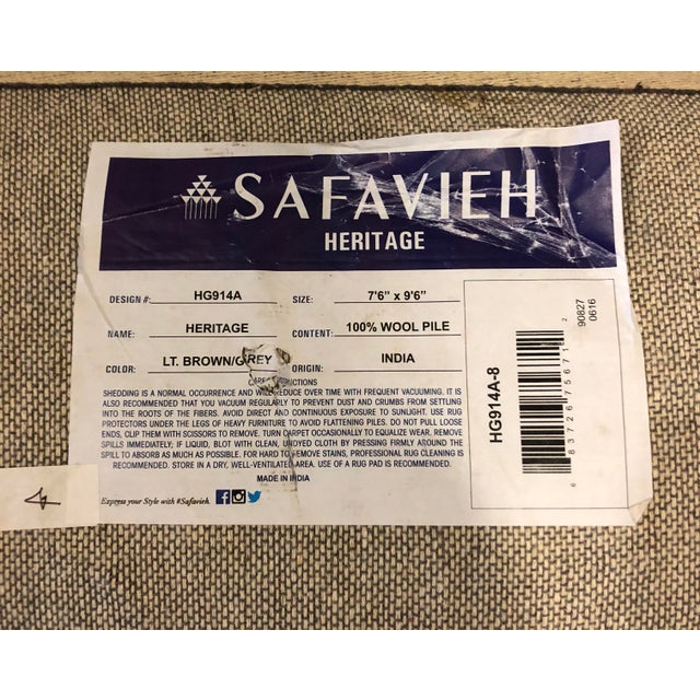 Safavieh Heritage Wool Hand Tufted Light Brown Grey Rug - 7'6 X 9'6 For Sale In Los Angeles - Image 6 of 8