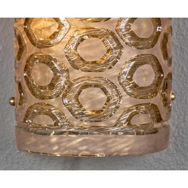 Modernist Murano Glass Stamped Sconces - a Pair For Sale - Image 9 of 10