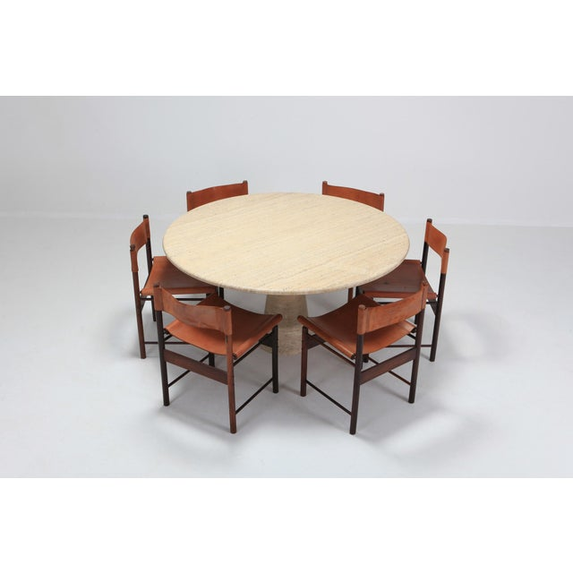 Angelo Mangiarotti Round Travertine Dining Table For Sale - Image 6 of 10