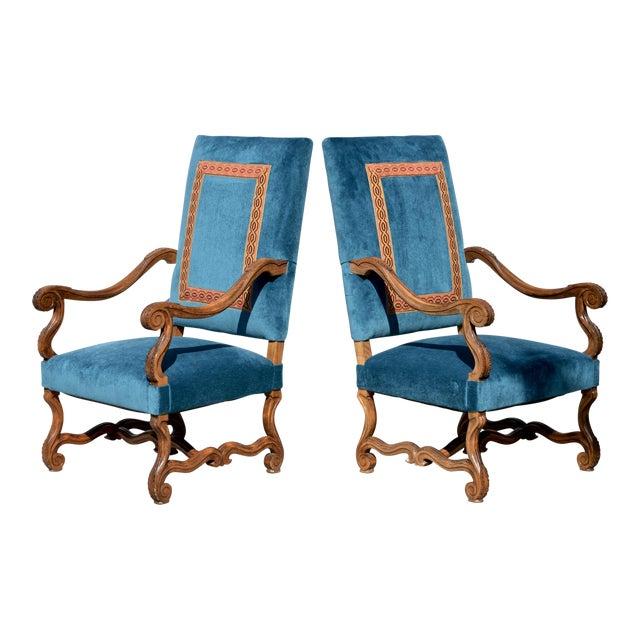 Louis XIV Style Os De Mouton Armchairs, a Pair For Sale