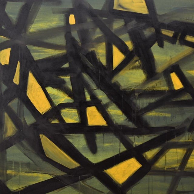 "2010s ""Jaune"" Acrylic on Canvas Painting For Sale - Image 5 of 6"