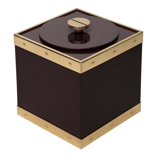 Not Yet Made - Made To Order Edge Ice Bucket in Brown / Brass - Flair Home for The Lacquer Company For Sale - Image 5 of 5