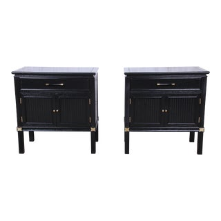 Tamerlane Collection Hollywood Regency Chinoiserie Ebonized Nightstands, Pair For Sale
