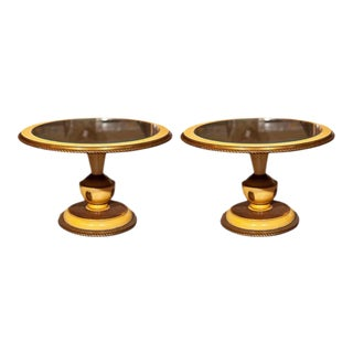 Circular Side Tables with Yellow Accents - A Pair