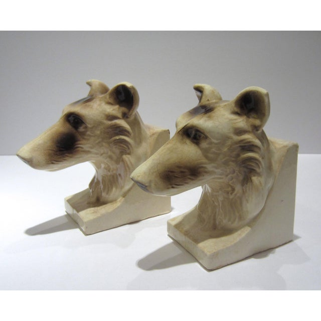 1950s Vintage Ceramic Dog Bookends - A Pair For Sale - Image 9 of 13